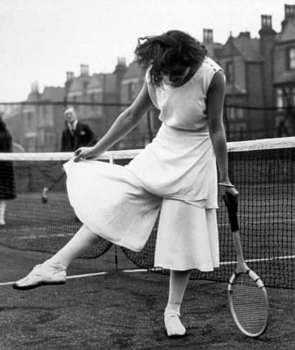 Lili de Alvarez, a Spanish tennis player, shows off her divided skirt at the North London Tennis Tournament in Highbury, 1931.