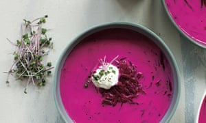 Brightest borscht with sour cream and fresh dill from Robyn Lea's book on Georgia O'Keeffe's favourite recipes.
