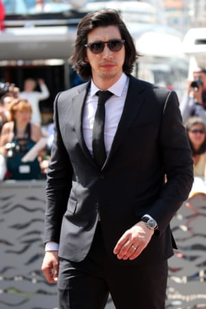 Adam Driver in a Pitti Uomo style suit and shades