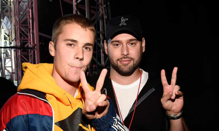 Braun with Justin Bieber at the One Love Manchester concert.