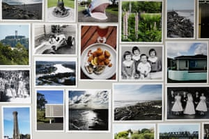 """A sort of """"memory wall"""" featuring photos from the life of chef Peter Gordon."""
