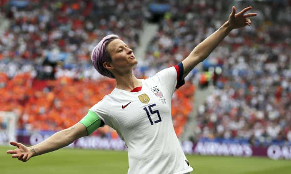 Megan Rapinoe after scoring the USA's opening goal in their 2019 World Cup final win over the Netherlands. Hayes signed her in 2009.