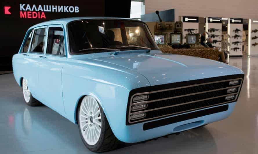 Son of a gun: the Kalashnikov stand at a defence trade show outside Moscow last week, showcasing the new electric car.