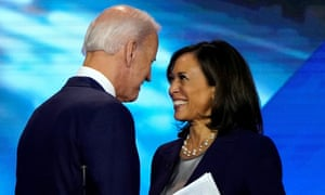 Biden and Harris talking after the Democratic presidential debate in Houston in September 2019.