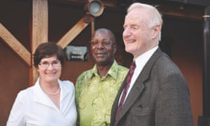 Ron McCallum and Mary Crock with Amanya Mushega, former secretary of East African Commuity and former Ugandan minister for education, Kampala 2013