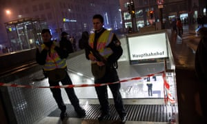 Members of the German police cordon off an entrance to the central station in Munich after terror warning.