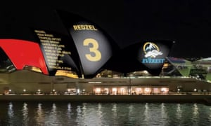 Concept design for proposed racing ads on the sails of the Sydney Opera House.