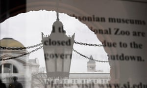 A notice of closure at the entrance to the Smithsonian Institution Building in Washington DC.