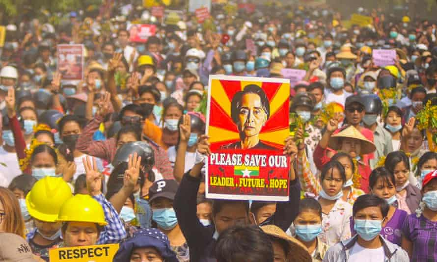 A demonstration against the military coup in Monywa, Sagaing region, in April.