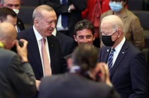 Turkish President Recep Tayyip Erdogan and US President Joe Biden appeared before their meeting during the NATO summit.