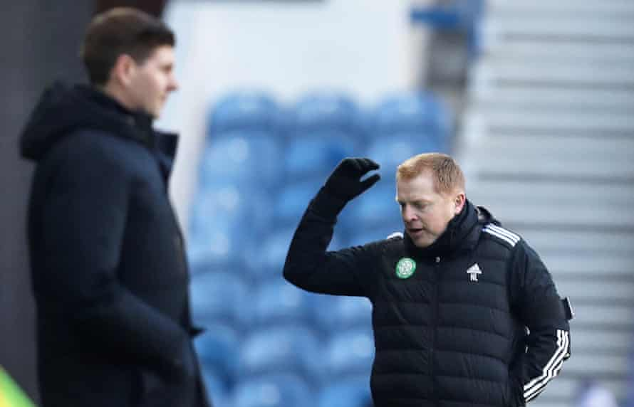 Neil Lennon, seen here with Steven Gerrard during Celtic's defeat at Rangers in January, knew some of the club's fans did not want him back in 2019.