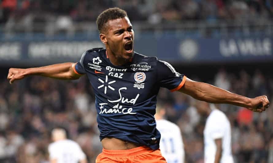 Montpellier HSC's Steve Mounie reacts after scoring a goal