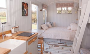 The interior of the Shepherds Hut, Knightstone Farm