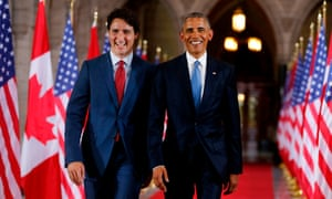 Trudeau and Obama in June 2016. Obama said: 'I hope our neighbors to the north support him for another term.'