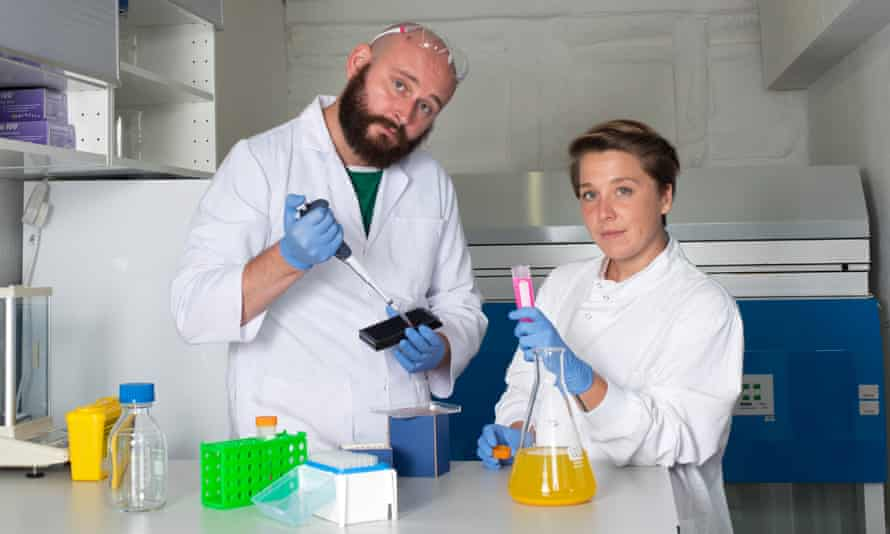 Open Cell co-founders Thomas Meany and Helene Steiner at work; their company Cell-Free Technology tests biological circuits.