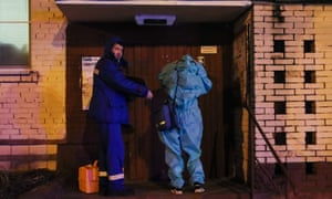 Emergency paramedics on a house call in Moscow.