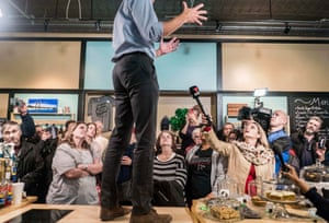 O'Rourke meets Iowa voters at the Beancounter Coffeehouse in downtown Burlington, Iowa, in March.