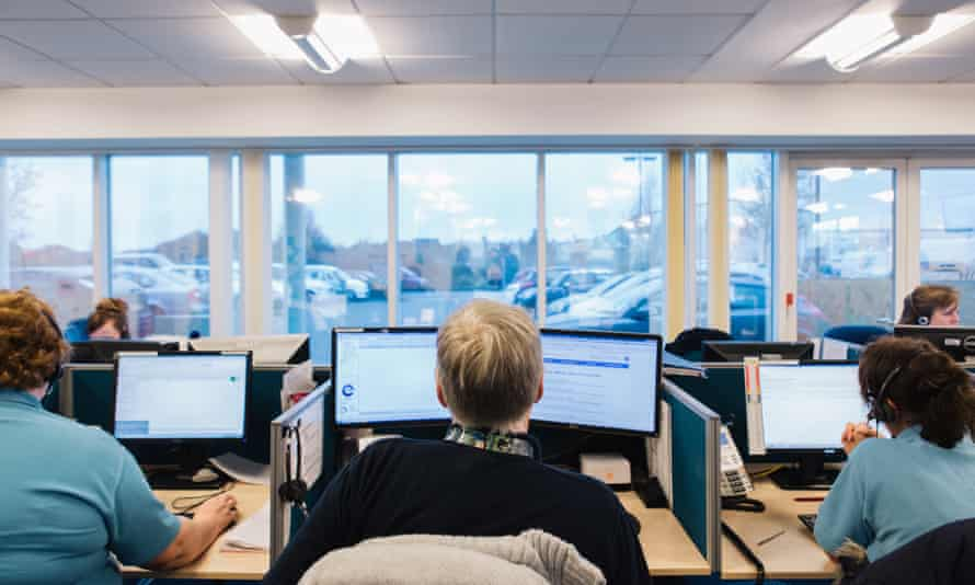 Call handlers and clinicians at an NHS 111 call centre.
