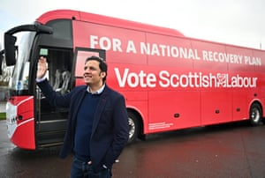 Anas Sarwar with Scottish Labour's election battlebus at the end of last week.