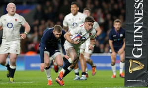 George Ford of England scores the match saving try as England draw 38-38 with Scotland at Twickenham.