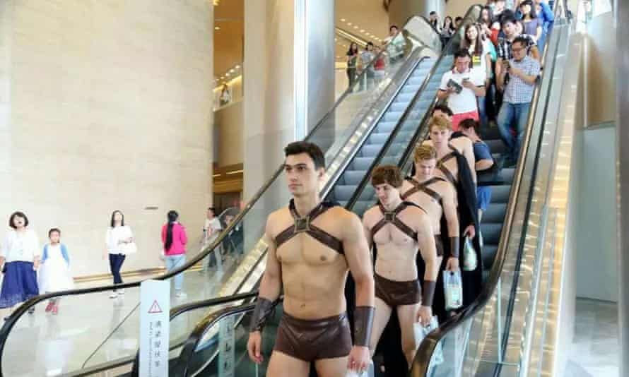 The male models were promoting 'Sweetie Salad' until their parade got out of hand.