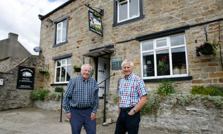 Ron Lightfoot and Paul Cullen, leading lights in a campaign to buy the local pub, the George and Dragon, in Hudswell.