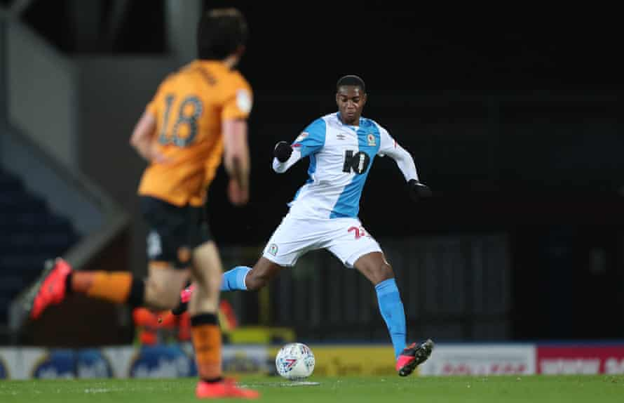 Tosin Adarabioyo in action for Blackburn in February.