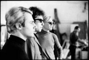 Gerard Malanga, Bob Dylan, Andy Warhol, The Factory, 1965