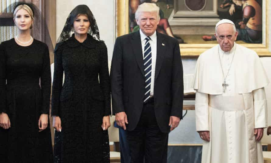 Donald Trump, with his wife Melania and daughter Ivanka, meeting Pope Francis in the Vatican.