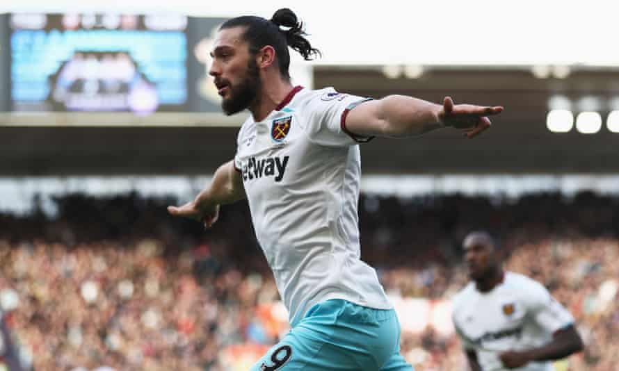 Andy Carroll celebrates getting West Ham's equaliser against Southampton at St Mary's