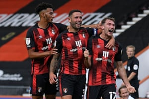 Jack Stacey (right) celebrates after scoring for Bournemouth against Blackburn.