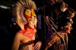 Simba (Nick Afoa) and Scar (George Asprey) in Disney's The Lion King at the Lyceum Theatre