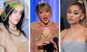 Billie Eilish, Taylor Swift and Ariana Grande.