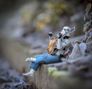 A strumming stormtrooper plays the guitar – possibly his own interpretation of the Imperial March.