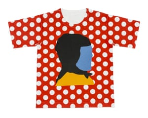 Red t-shirt with white dots and print of abstract face
