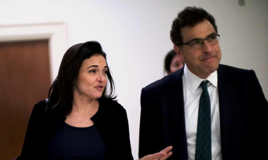 Facebook's chief operating officer, Sheryl Sandberg, and its vice-president of global communications and public policy, Elliot Schrage, on Capitol Hill.