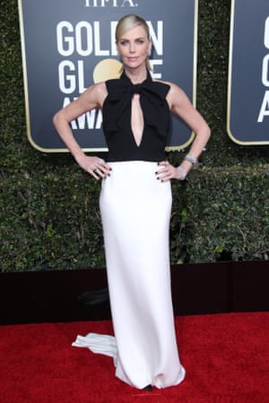 Charlize Theron in a Dior Haute Couture black and white column gown.