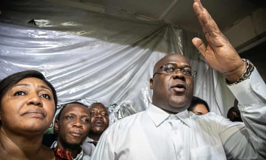 Felix Tshisekedi gestures