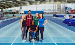 From left: Gail Emms, Olympic medallist in badminton; Jonté Smith, Lewes FC centre-forward; Anne Wafula Strike, Paralympic wheelchair racer; Faye Baker, Lewes FC goalkeeper; Goldie Sayers, former British javelin thrower. Shot on location at Lee Valley Athletics Centre.