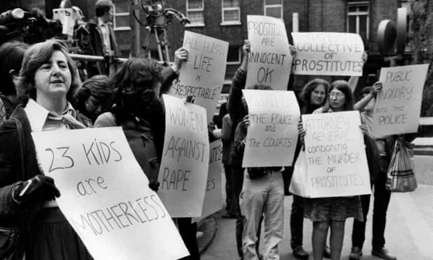Maureen Colquhoun, left, leading protests outside the Old Bailey in 1982 against the judge and the media's distinction between prostitutes and 'respectable women' during the trial of the serial killer Peter Sutcliffe.