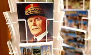 A postcard featuring Marshal Petain on sale at the souvenir shop of the Ossuary of Douaumont, near Verdun, north-eastern France