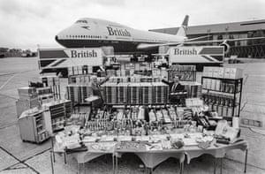 Equipment in front of 747 jet