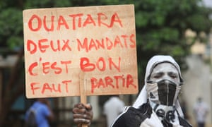 Opposition protest against Ivory Coast President Alassane Ouattara's decision to run for a third term at elections in October.