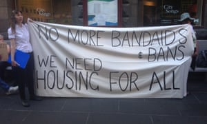 Protesters outside a Melbourne city council meeting