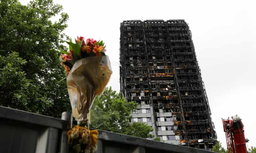 A floral tribute near Grenfell Tower