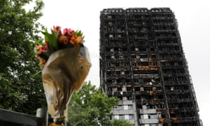 A floral tribute left near the Grenfell Tower in the aftermath of the tragedy.