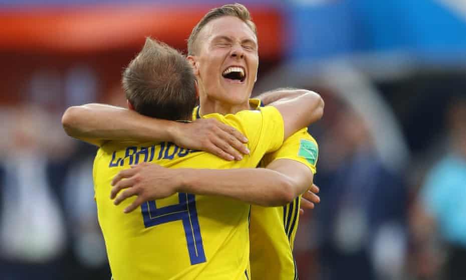 Andreas Granqvist and Viktor Claesson celebrate their win.