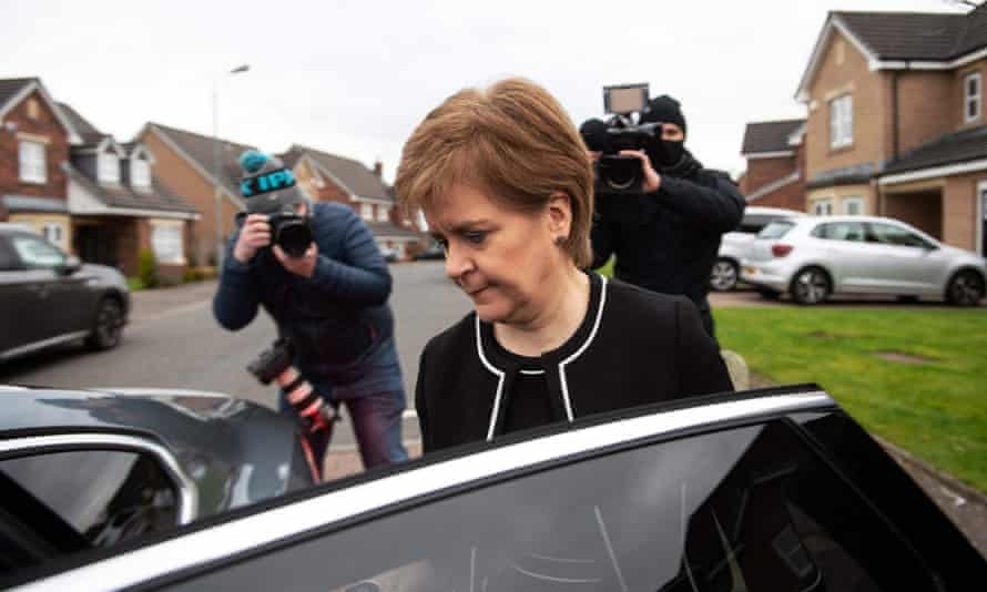 Scotland's First Minister Nicola Sturgeon leaves her home in Glasgow on Tuesday.