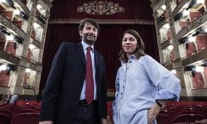 Sofia Coppola with the Italian minister of culture, Dario Franceschini, during a rehearsal for La Traviata.