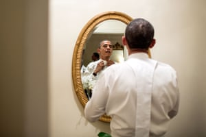 18 October: 'The president ties his white tie before the Alfred E Smith dinner in New York. Although the dinner is an annual event, every four years the two presidential nominees attend, just a few weeks before the election'